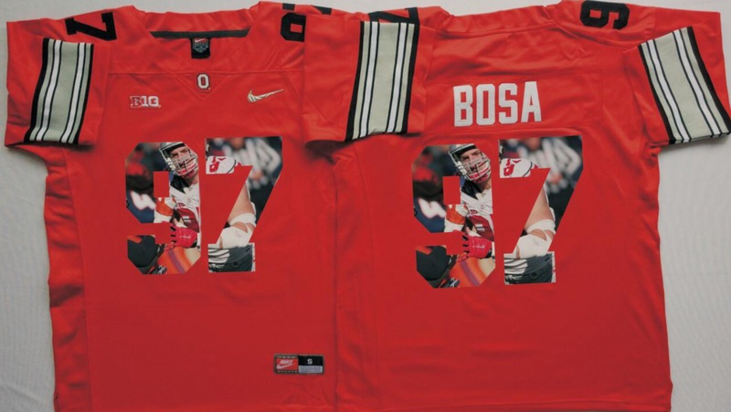 2016 NCAA Ohio State Buckeyes 97 Bosa Red Fashion Edition Jerseys