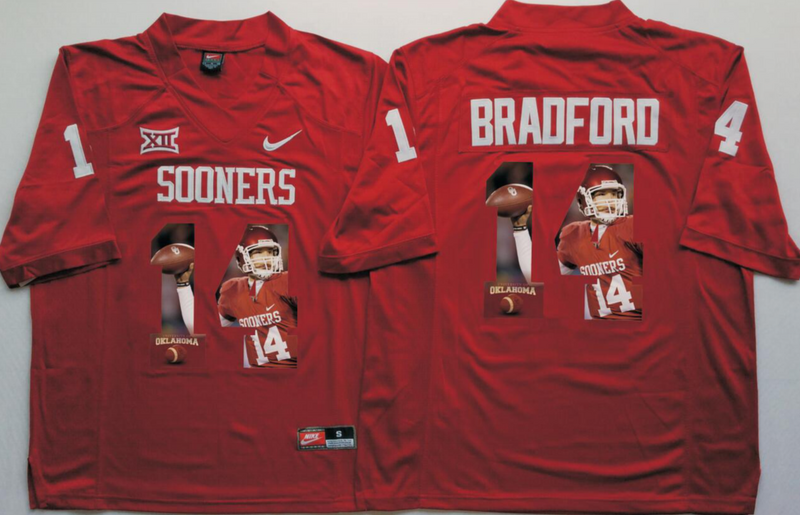 2016 NCAA Oklahoma Sooners 14 Bradford Red Fashion Edition Jerseys
