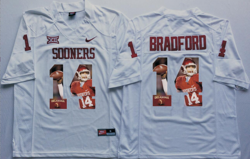 2016 NCAA Oklahoma Sooners 14 Bradford White Fashion Edition Jerseys