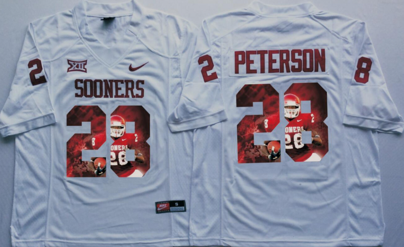 2016 NCAA Oklahoma Sooners 28 Peterson White Fashion Edition Jerseys