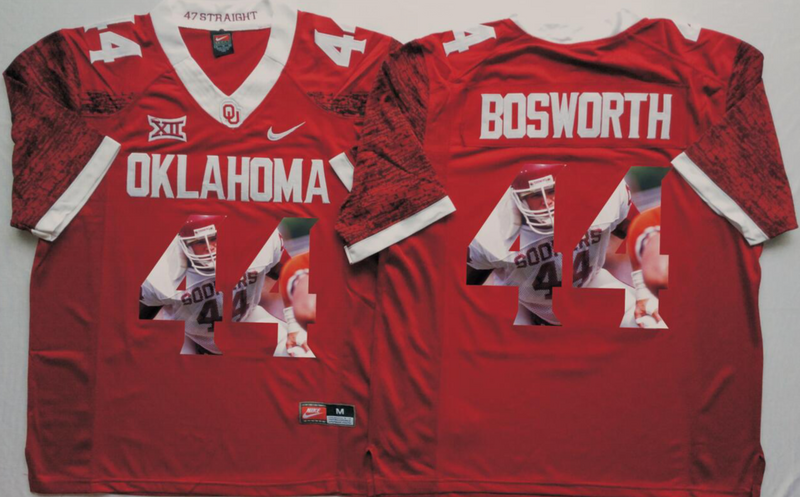 2016 NCAA Oklahoma Sooners 44 Bosworth Red Limited Fashion Edition Jerseys