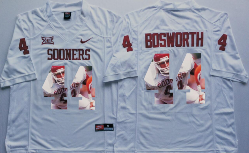 2016 NCAA Oklahoma Sooners 44 Bosworth White Fashion Edition Jerseys
