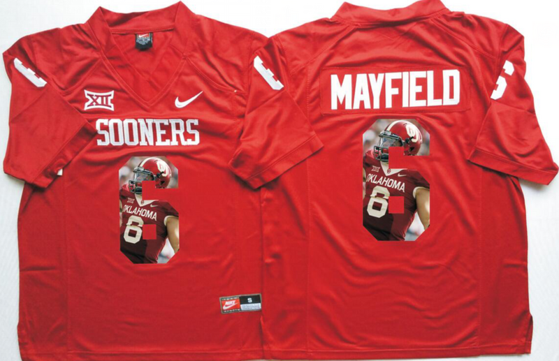 2016 NCAA Oklahoma Sooners 6 Mayfield Red Fashion Edition Jerseys