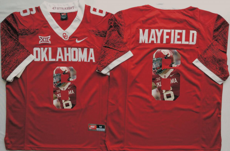 2016 NCAA Oklahoma Sooners 6 Mayfield Red Limited Fashion Edition Jerseys