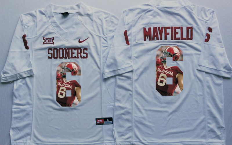 2016 NCAA Oklahoma Sooners 6 Mayfield White Fashion Edition Jerseys