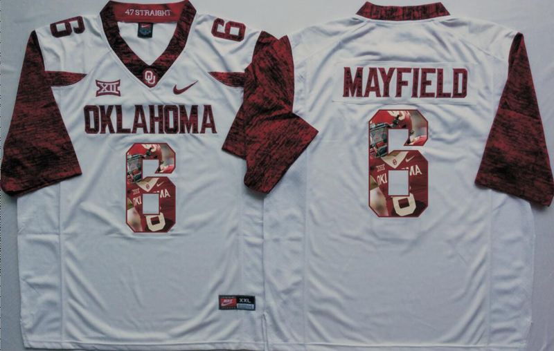 2016 NCAA Oklahoma Sooners 6 Mayfield White Limited Fashion Edition Jerseys