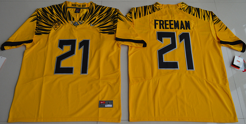 2016 NCAA Oregon Duck 21 Royce Freeman Yellow College Football Electric Lightning Limited Jerseys