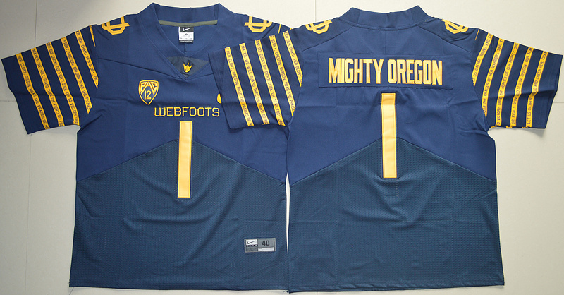 2016 NCAA Oregon Ducks Spring Game 1 Mighty Oregon Navy Blue Weebfoot 100th Rose Bowl Game Elite Jersey
