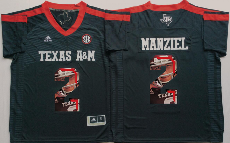2016 NCAA Texas A&M Aggies 2 Manziel Black Fashion Edition Jerseys