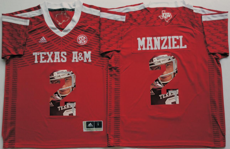 2016 NCAA Texas A&M Aggies 2 Manziel Red Fashion Edition Jerseys