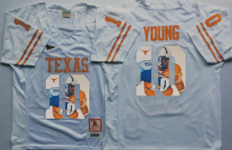 2016 NCAA Texas Longhorns 10 Young White Fashion Edition Jerseys