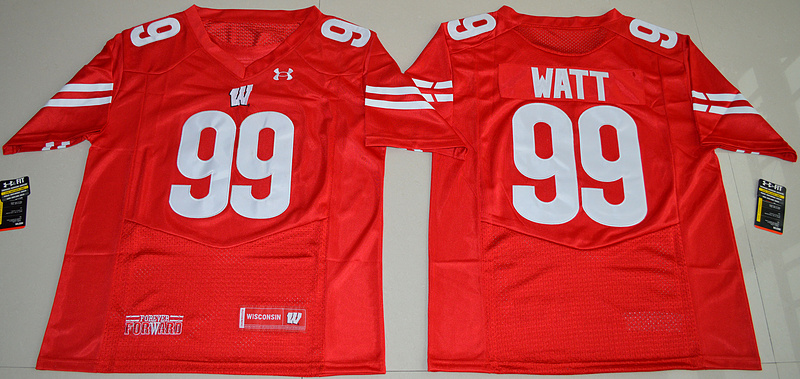 2016 NCAA UA Wisconsin Badgers 99 J.J Watt Red College Football Jersey
