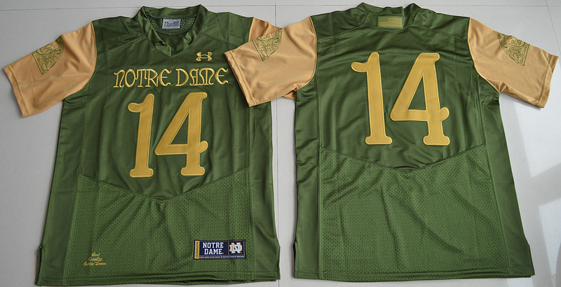 2016 NCAA Under Armour 14 DeShone Kizer Olive Green Notre Dame Fighting Irish 2016 Shamrock Series Premier College Football Jersey