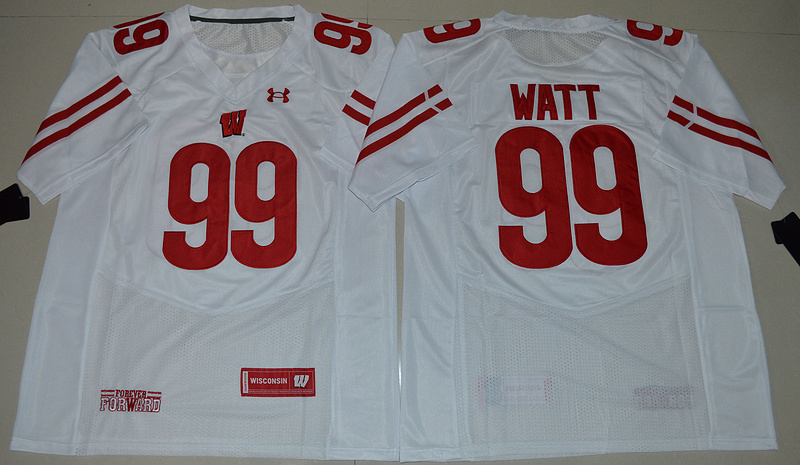 2016 NCAA Under Armour Wisconsin Badgers 99 J.J Watt White College Football Jersey