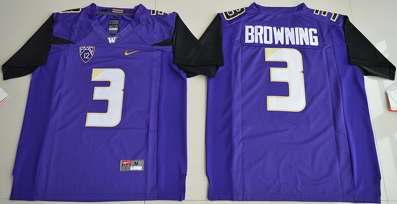 2016 NCAA Washington Huskies 3 Jake Browning Purple College Football Limited Jersey
