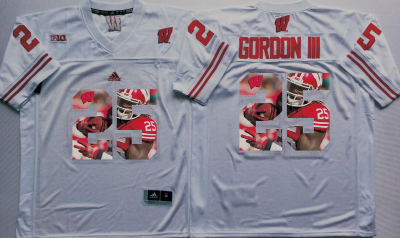 2016 NCAA Wisconsin Badgers 25 Gordon iii White Fashion Edition Jerseys