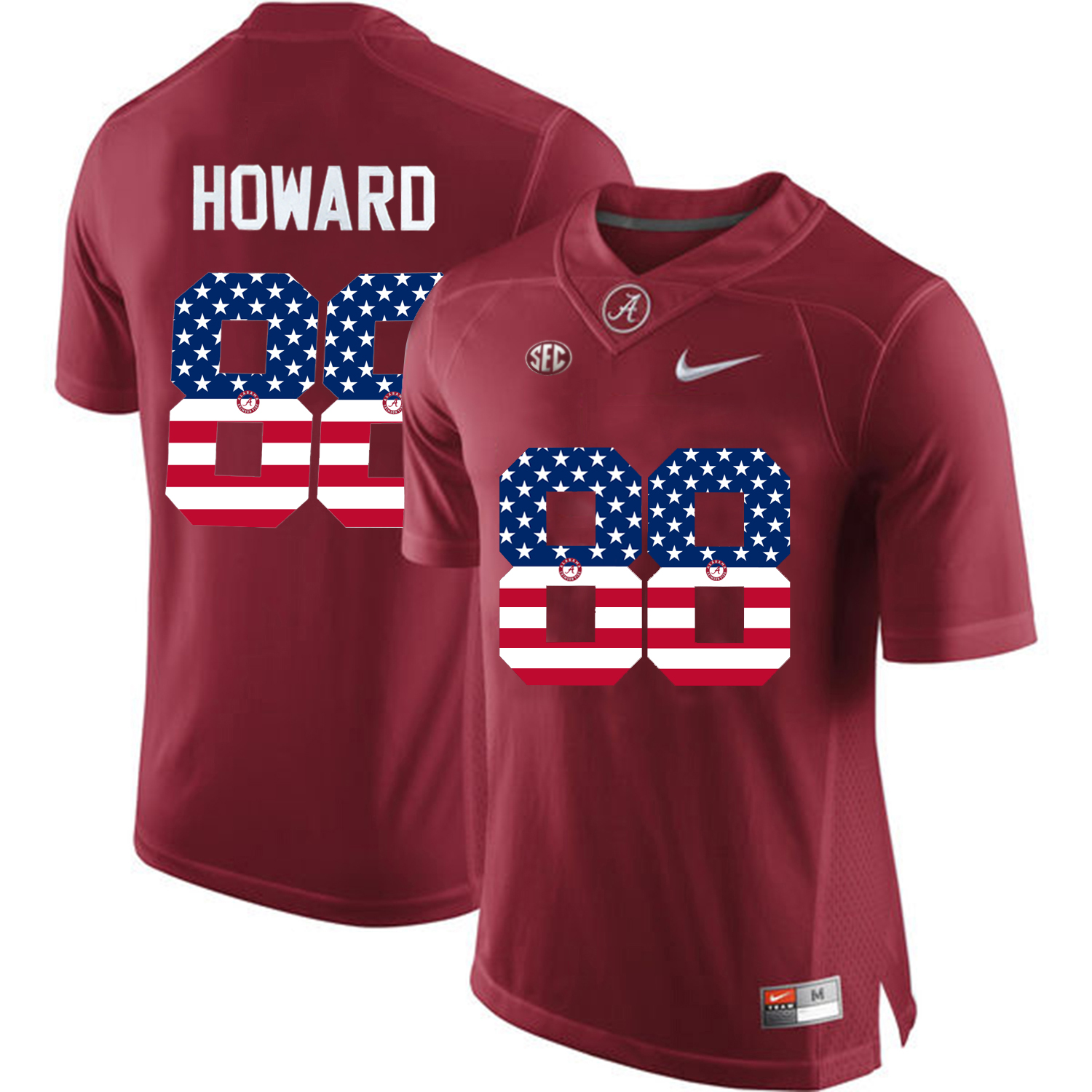 2016 US Flag Fashion Alabama Crimson Tide O.J Howard 88 College Football Limited Jersey Crimson