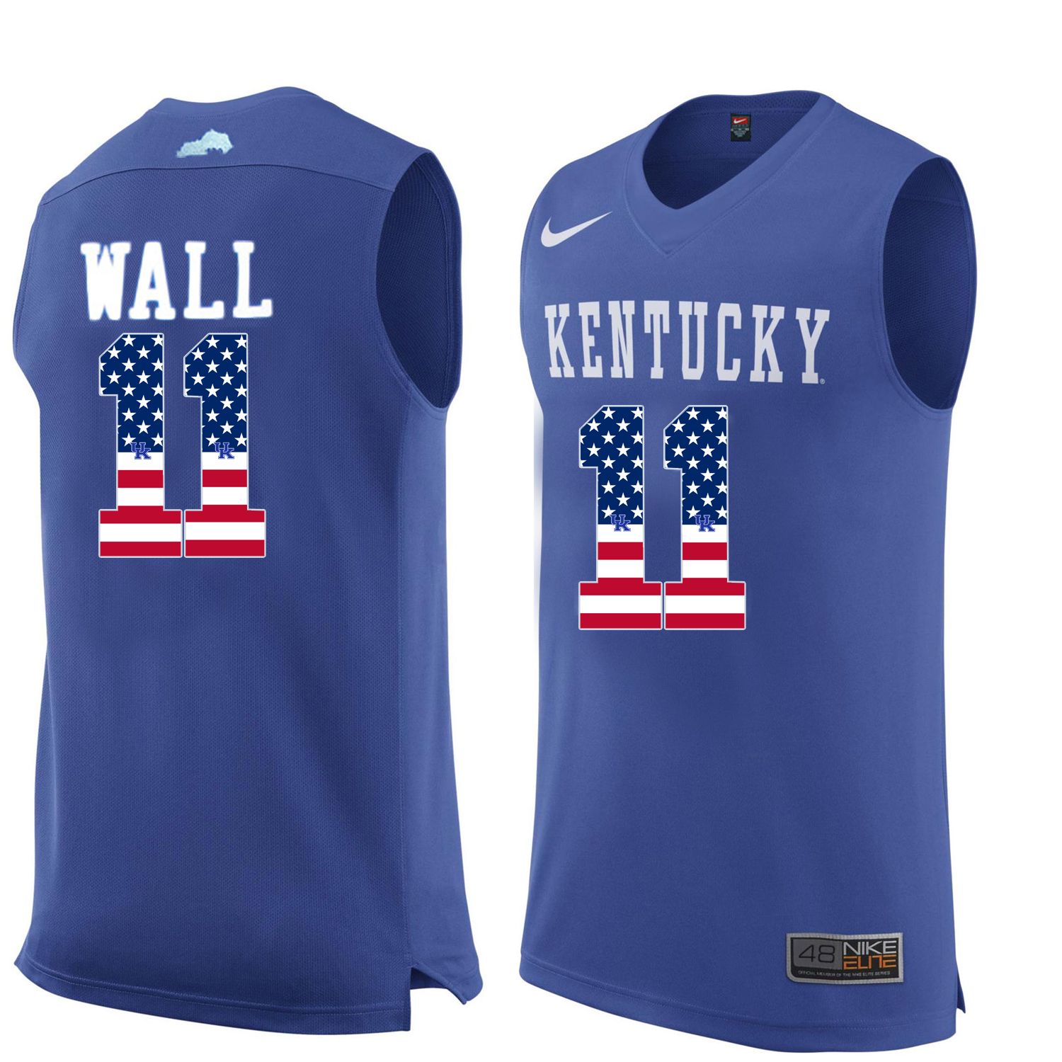 2016 US Flag Fashion Men Kentucky Wildcats John Wall 11 College Basketball Jersey Royal Blue