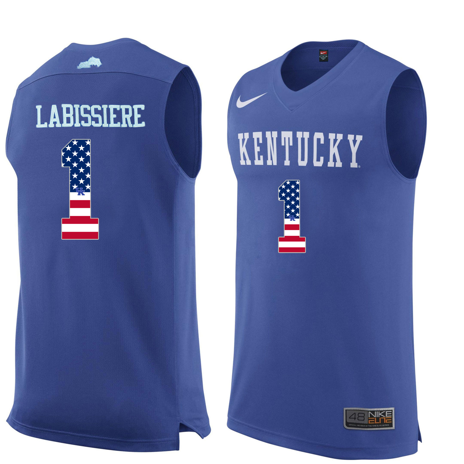 2016 US Flag Fashion Men Kentucky Wildcats Skal Labissiere 1 College Basketball Jersey Royal Blue