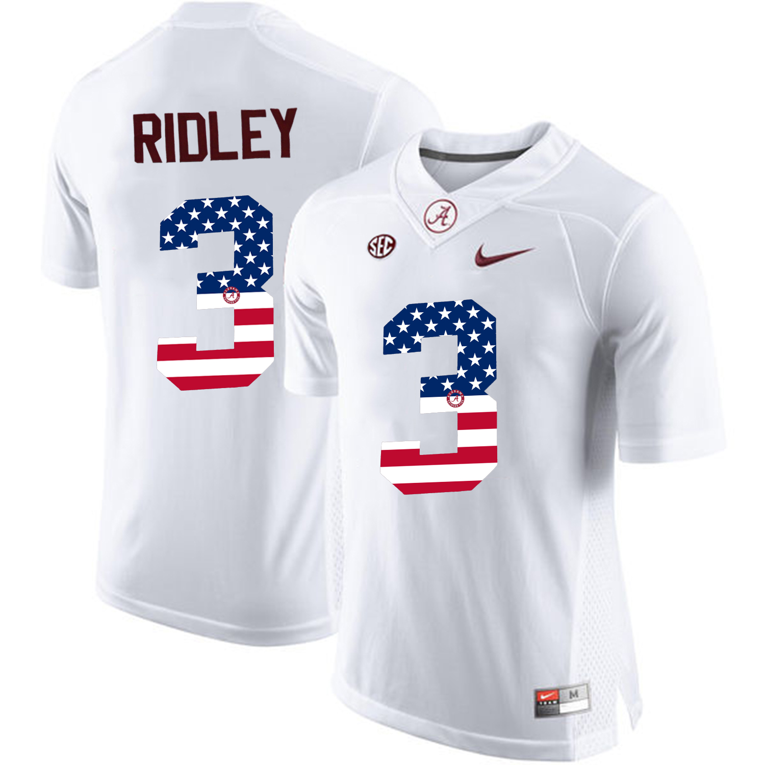 2016 US Flag Fashion Alabama Crimson Tide Calvin Ridley 3 College Football Limited Jersey White