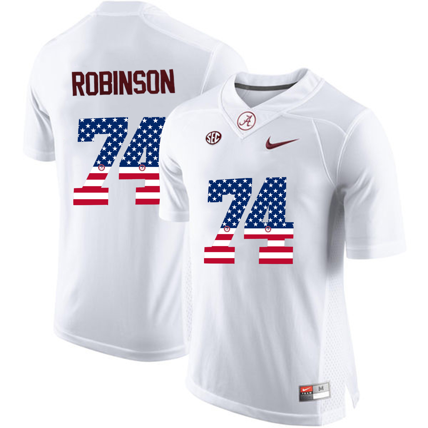 2016 US Flag Fashion Alabama Crimson Tide Cam Robinson 74 College Football Limited Jersey White