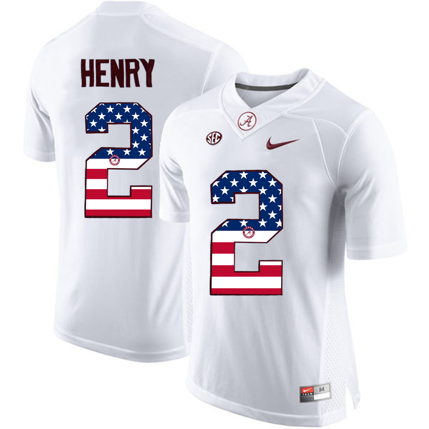 2016 US Flag Fashion Alabama Crimson Tide Derrick Henry 2 College Football Limited Jersey White