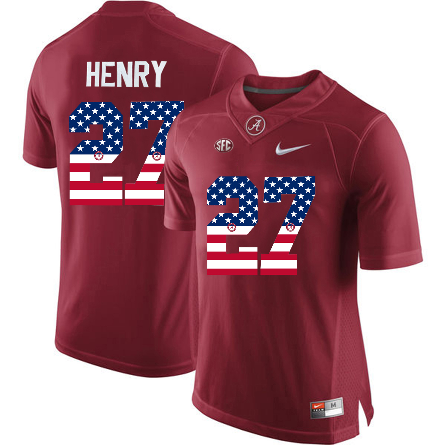 2016 US Flag Fashion Alabama Crimson Tide Derrick Henry 27 College Football Diamond Quest Jersey Crimson