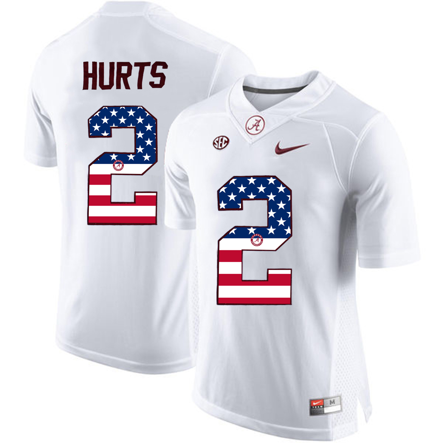 2016 US Flag Fashion Alabama Crimson Tide Jalen Hurts 2 College Football Limited Jerseys White