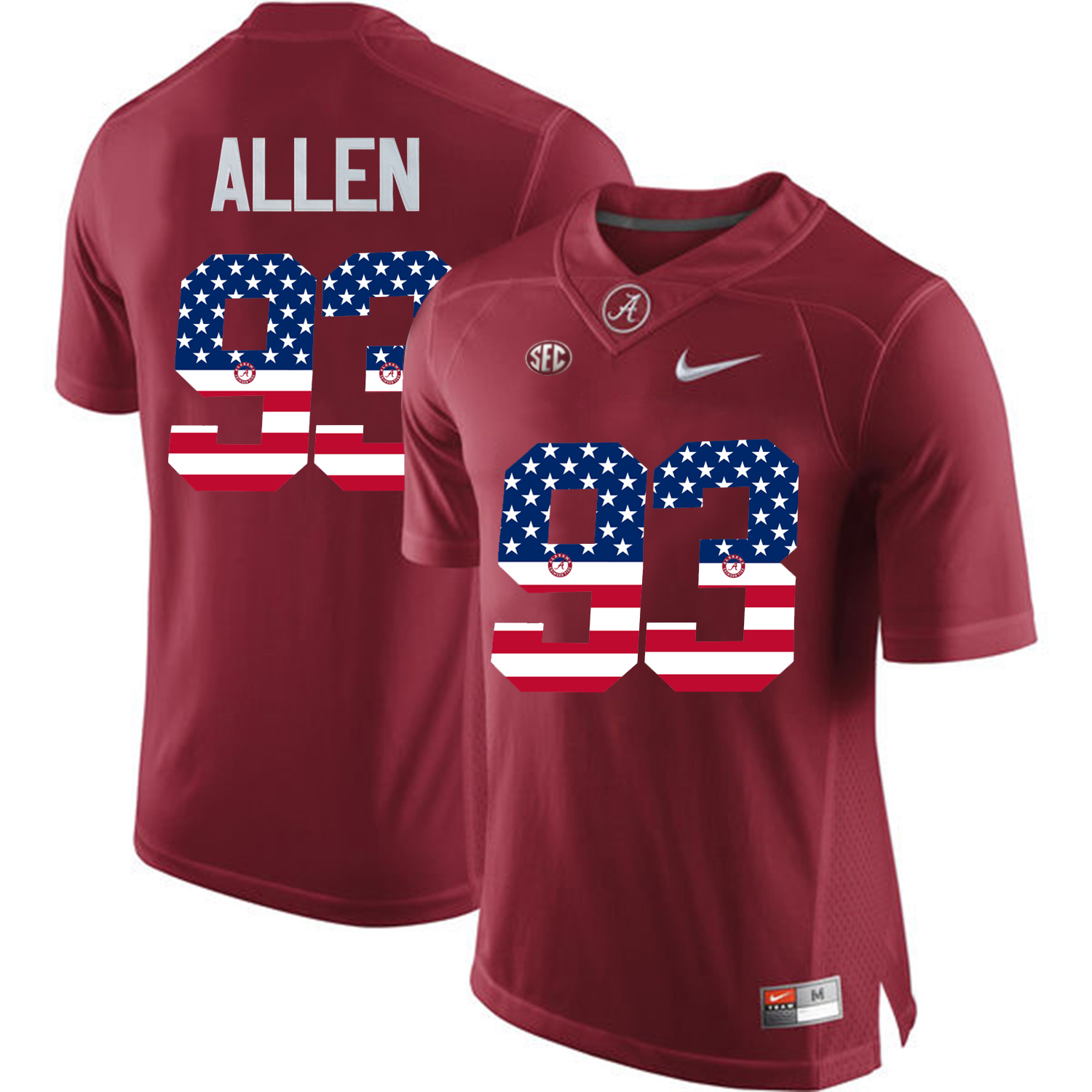 2016 US Flag Fashion Alabama Crimson Tide Jonathan Allen 93 College Football Limited Jersey Crimson