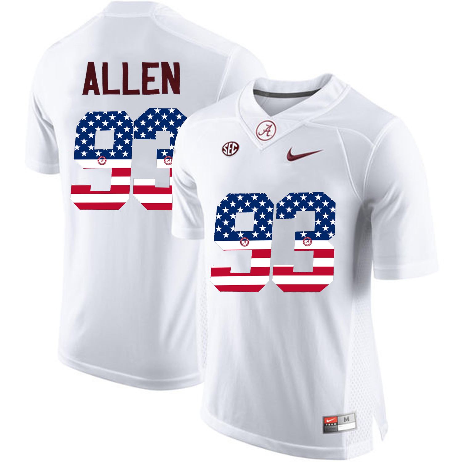 2016 US Flag Fashion Alabama Crimson Tide Jonathan Allen 93 College Football Limited Jersey White