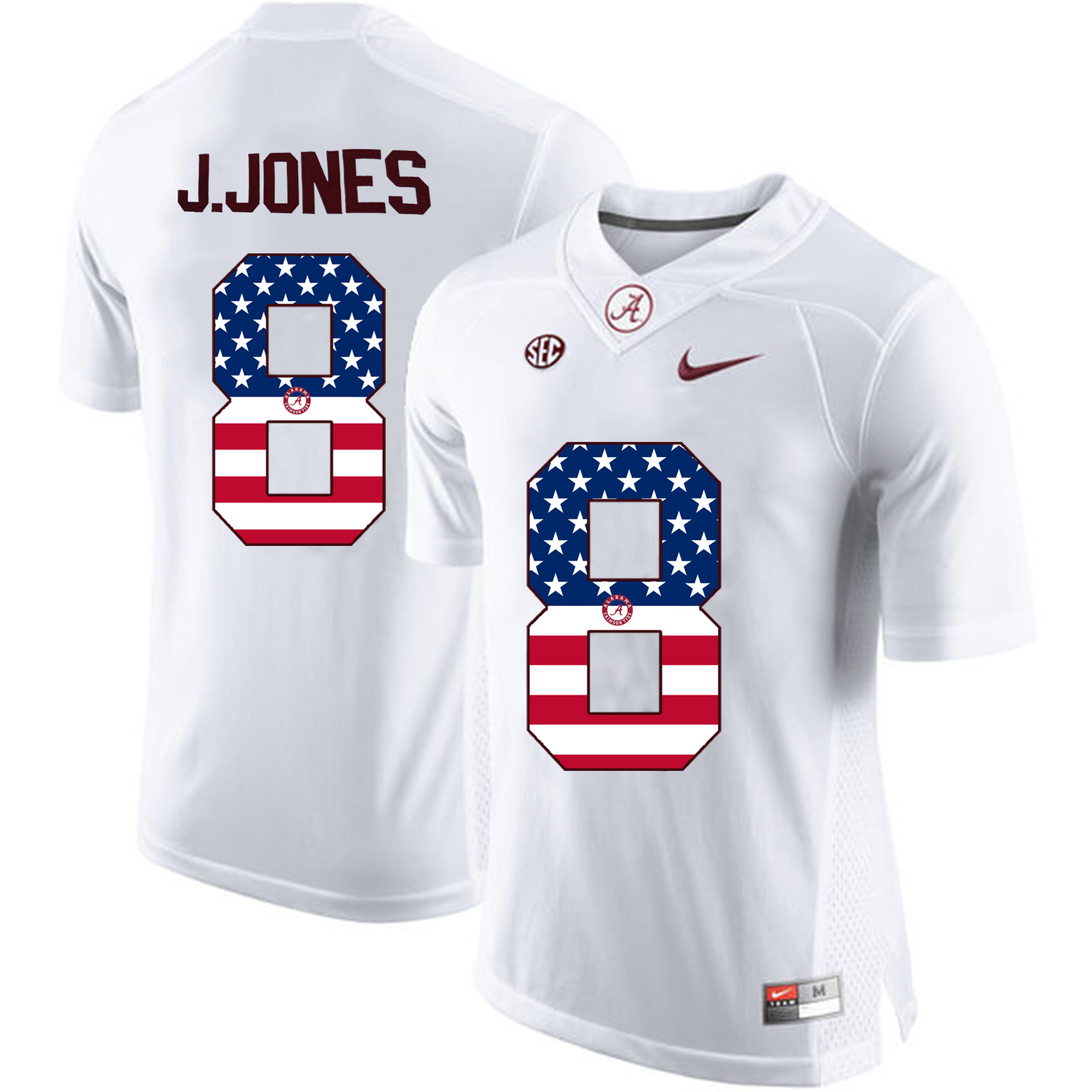 2016 US Flag Fashion Alabama Crimson Tide Julio Jones 8 College Football Limited Jersey White