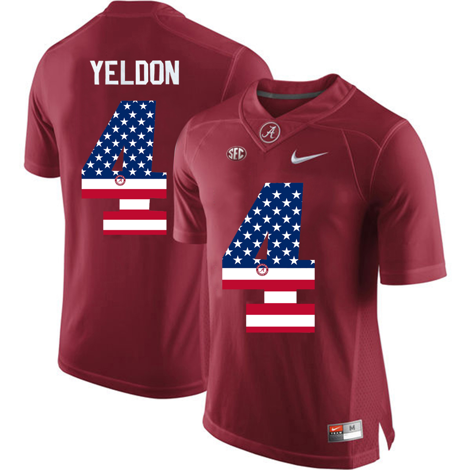 2016 US Flag Fashion Alabama Crimson Tide T.J Yeldon 4 College Football Diamond Quest Jerseys Crimson