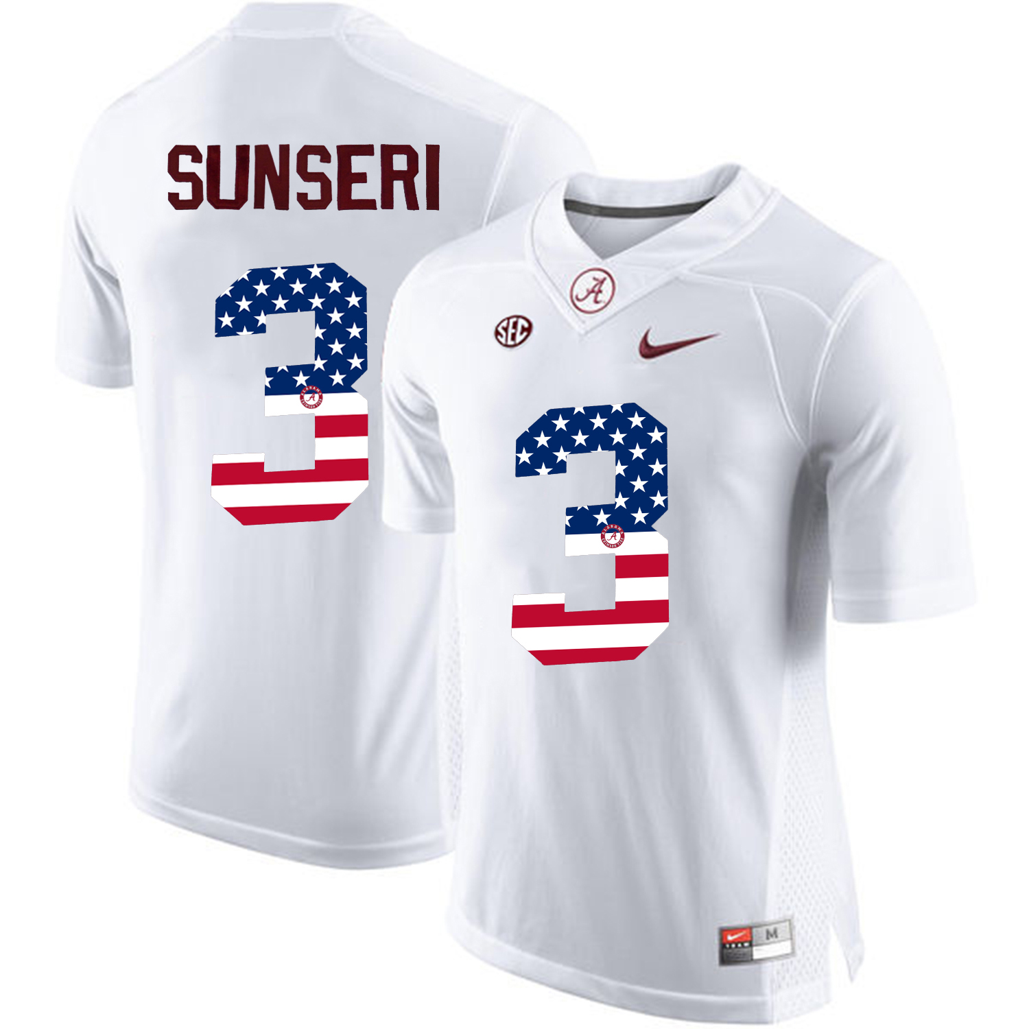 2016 US Flag Fashion Alabama Crimson Tide Vinnie Sunseri 3 College Football Limited Jerseys White