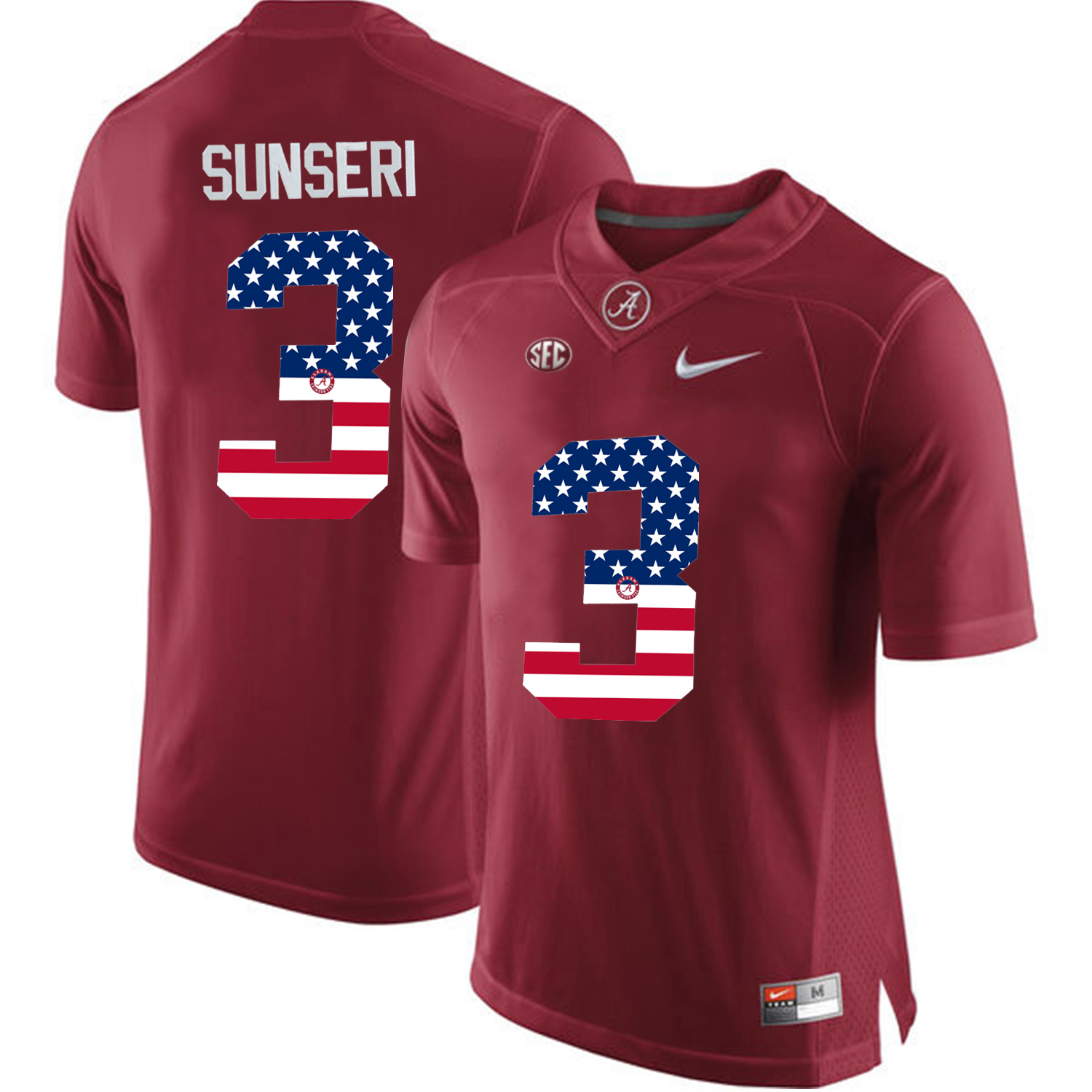 2016 US Flag Fashion Alabama Crimson Tide Vinnie Sunseri 3 College Football Limited Jerseys Crimson