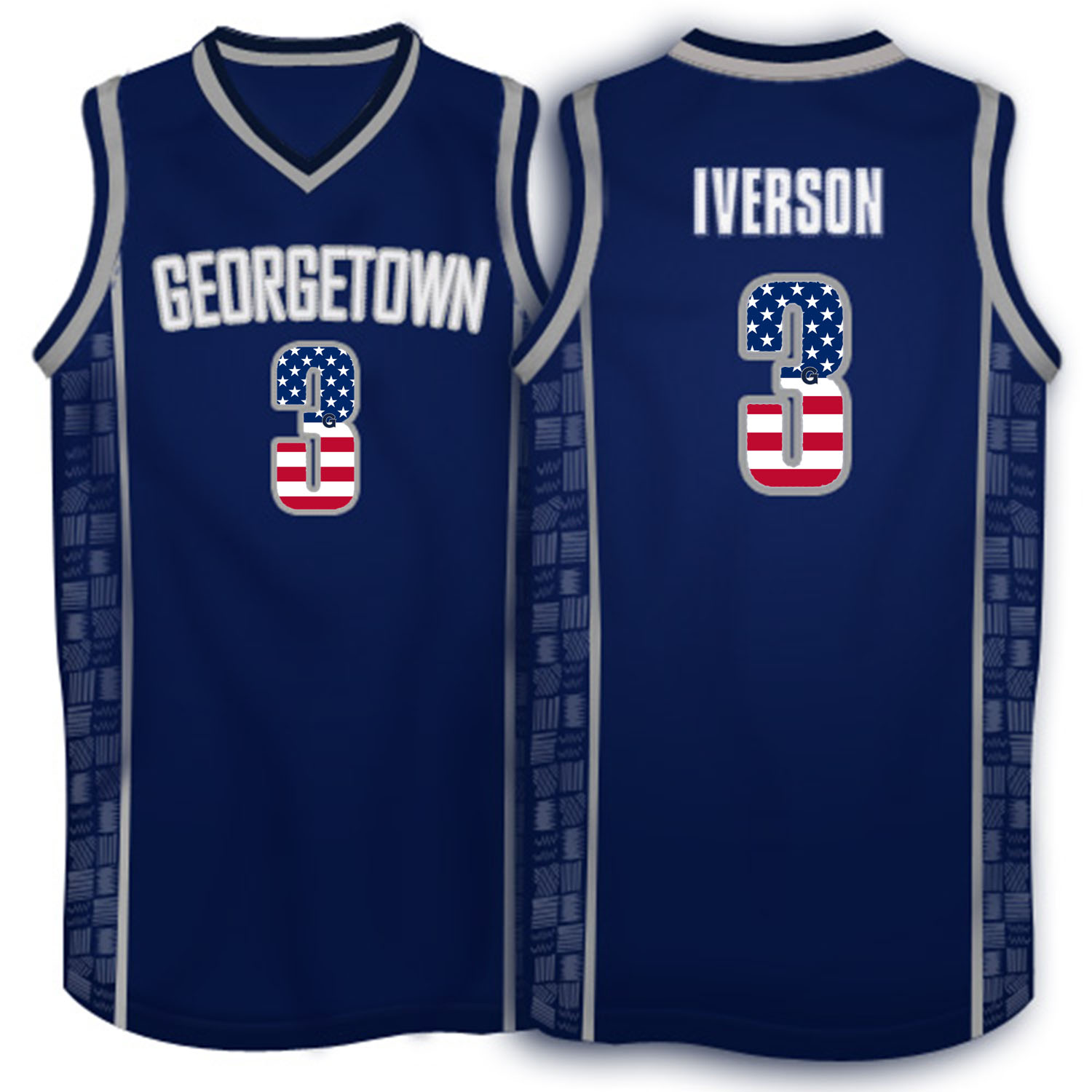 2016 US Flag Fashion Allen Iverson Georgetown Hoyas 1996 Throwback Retro Jersey Navy Blue