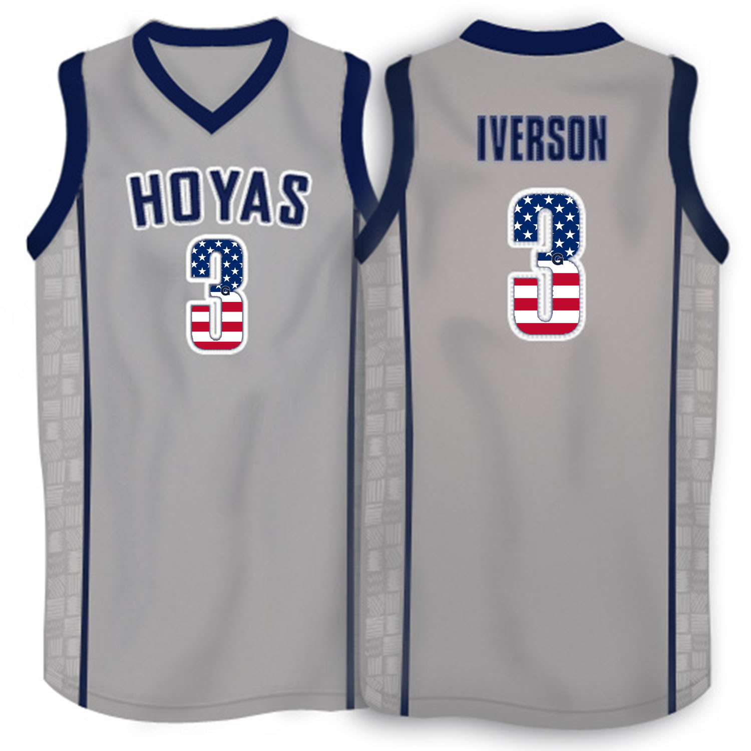 2016 US Flag Fashion Allen Iverson Georgetown Hoyas 1996 Throwback Retro Jersey Grey
