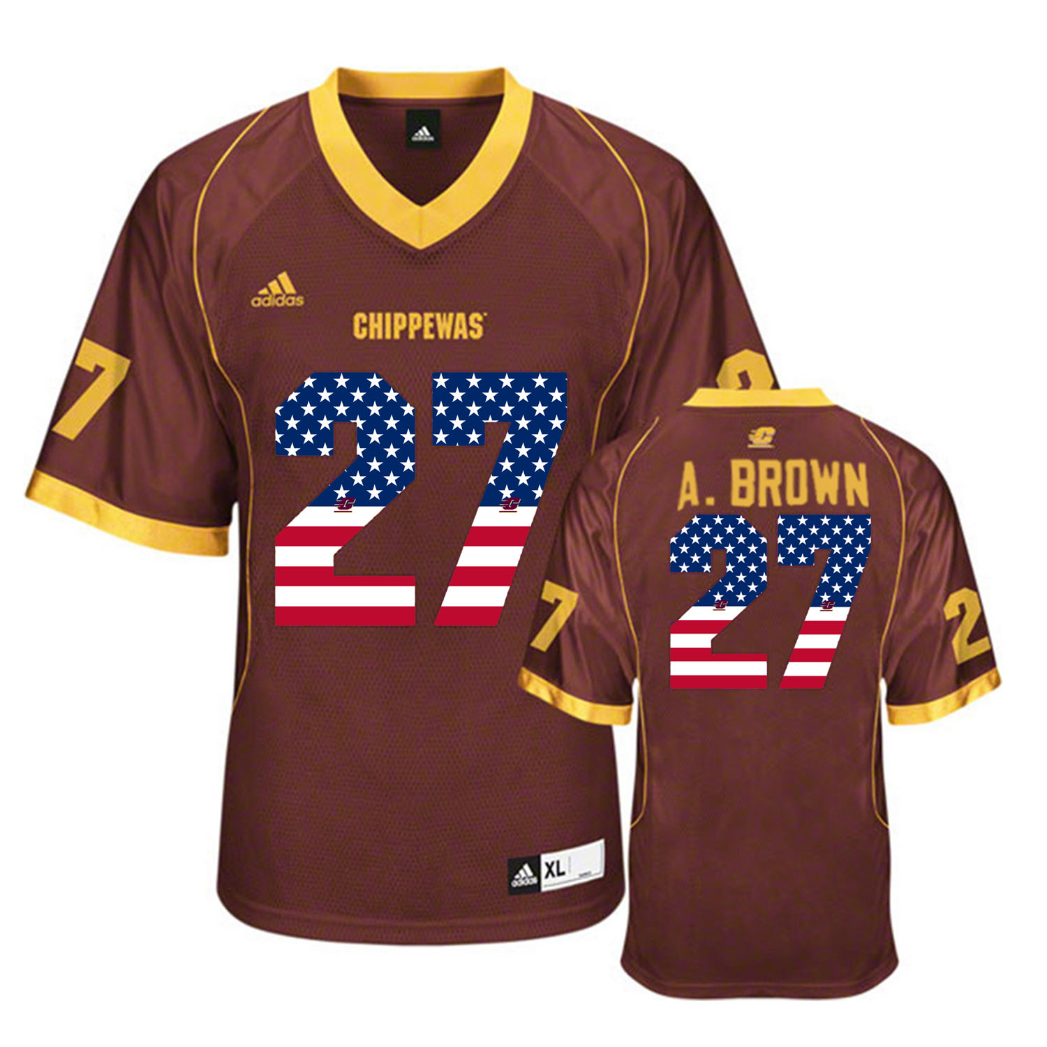 2016 US Flag Fashion Central Michigan Chippewas Antonio Brown 27 College Football Jersey Maroon