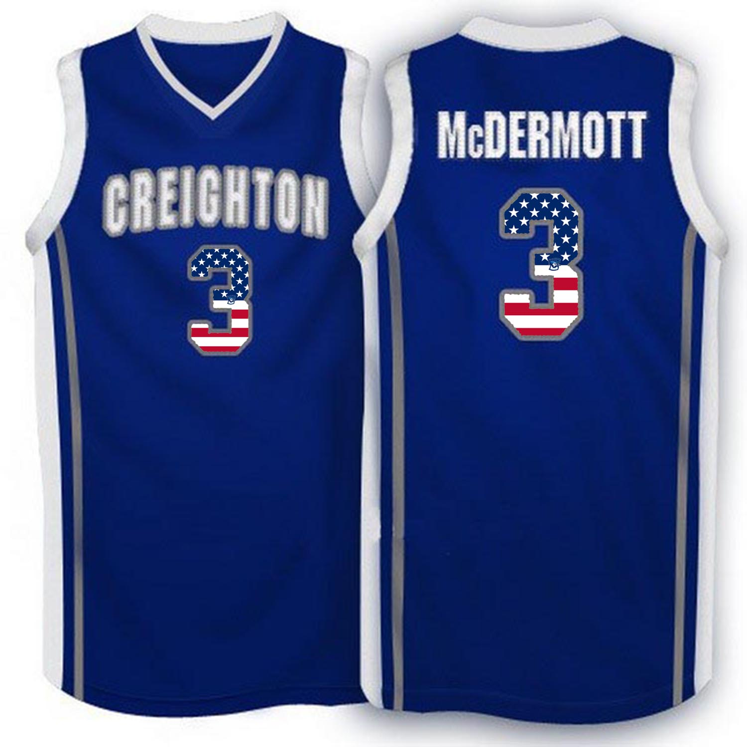 2016 US Flag Fashion Creighton Bluejays Doug McDermott 3 College Basketball Jersey Blue