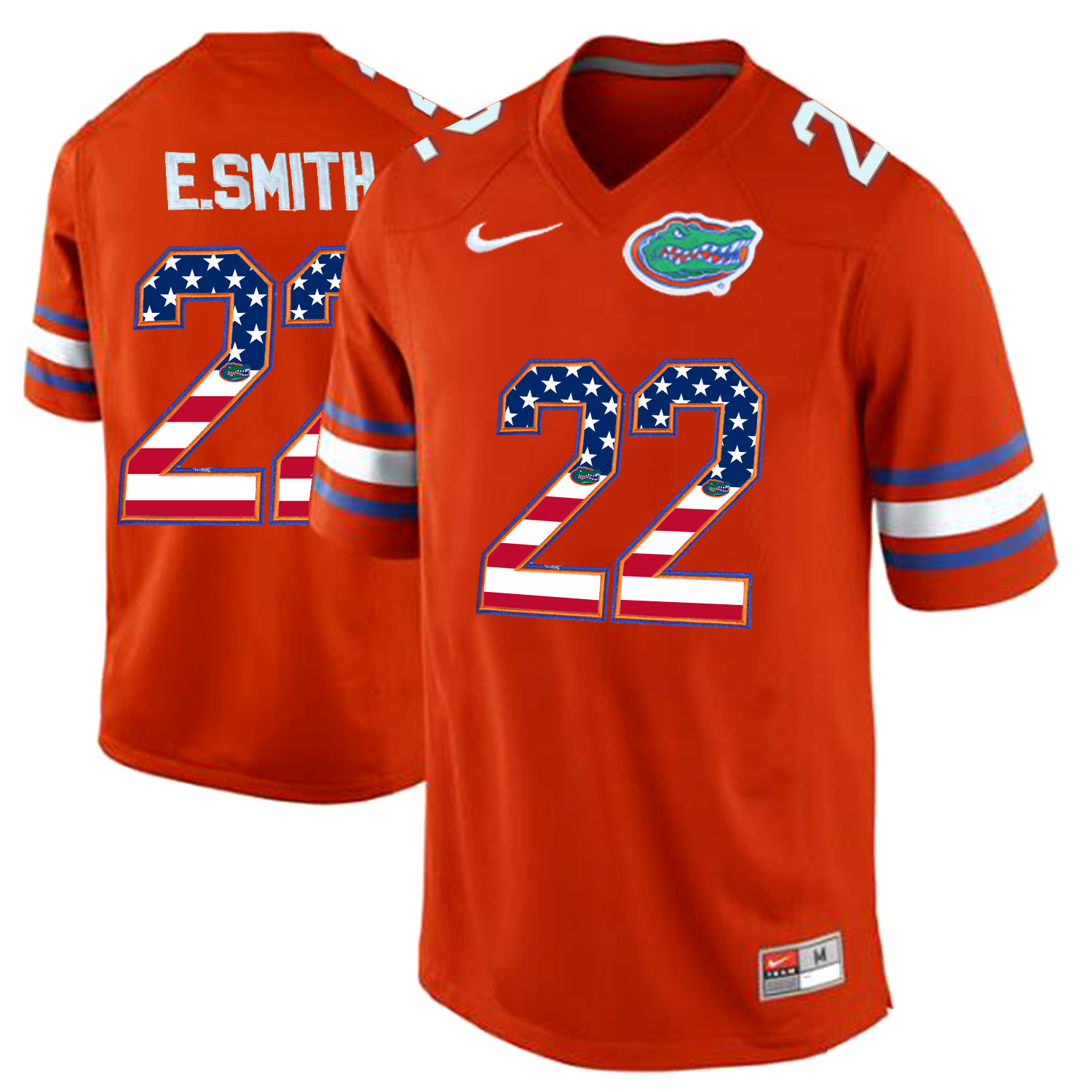 2016 US Flag Fashion Florida Gators E.Smith 22 College Football Jersey Orange