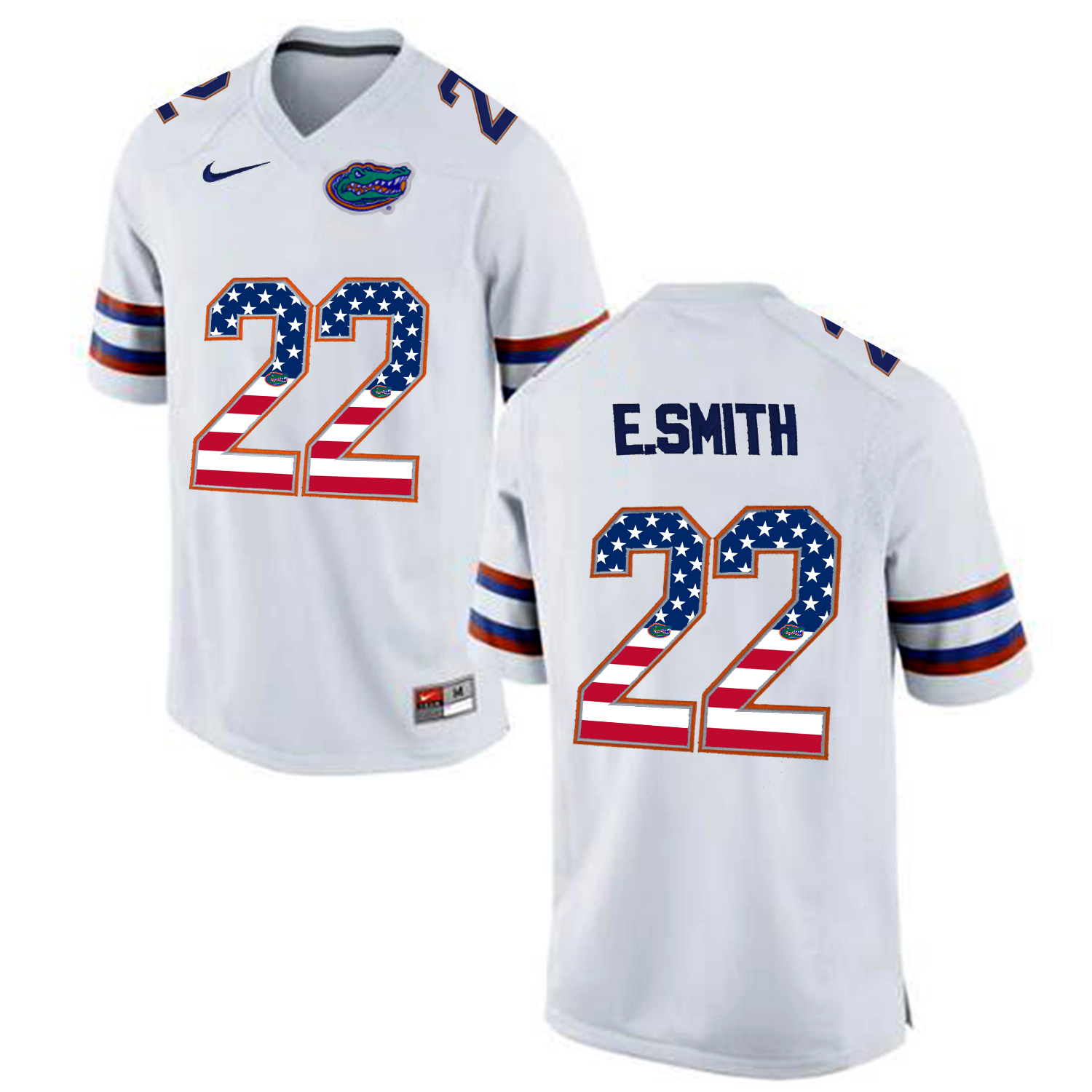 2016 US Flag Fashion Florida Gators E.Smith 22 College Football Jersey White
