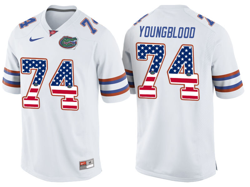 2016 US Flag Fashion Florida Gators Jack Youngblood 74 College Football Jersey White