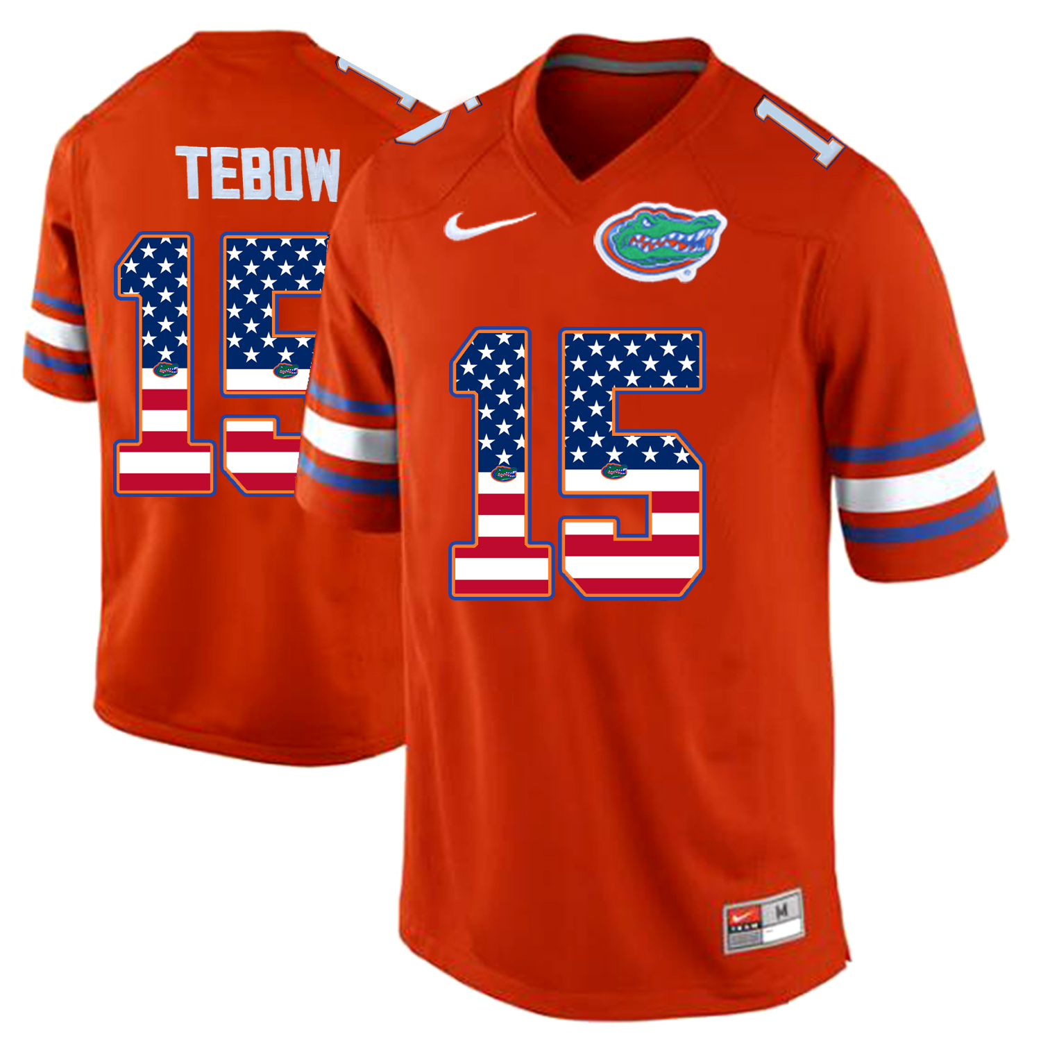 2016 US Flag Fashion Florida Gators Tim Tebow 15 College Football Jersey Orange