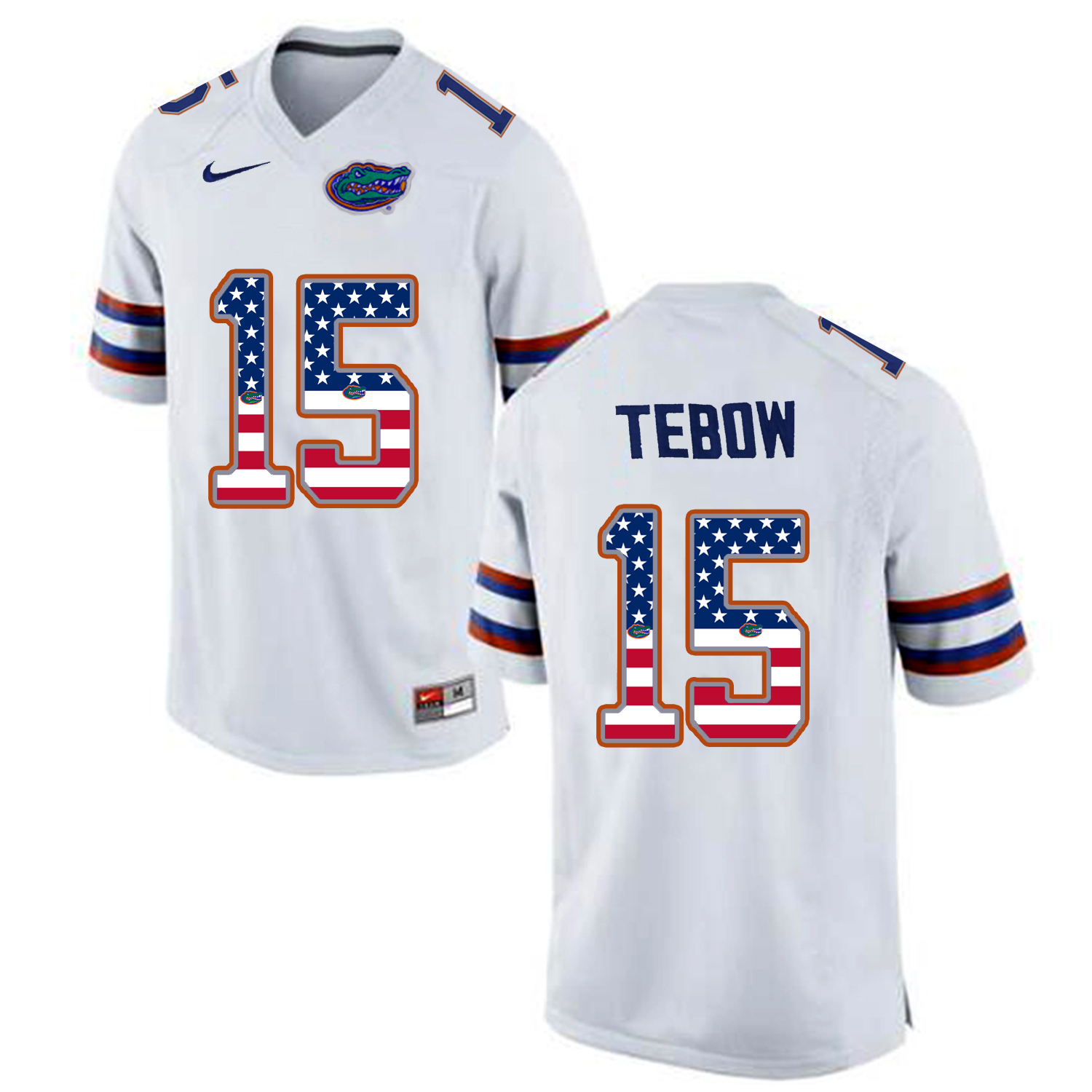 2016 US Flag Fashion Florida Gators Tim Tebow 15 College Football Jersey White