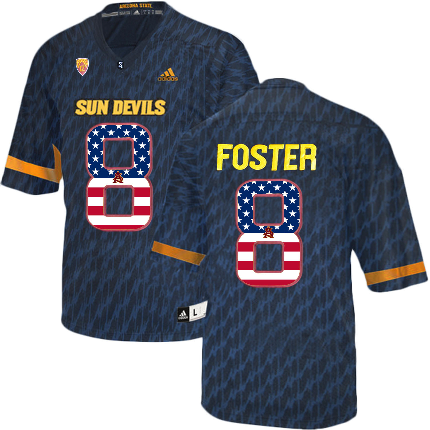 2016 US Flag Fashion Men Arizona State Sun Devils D.J. Foster 8 College Football Jersey Black