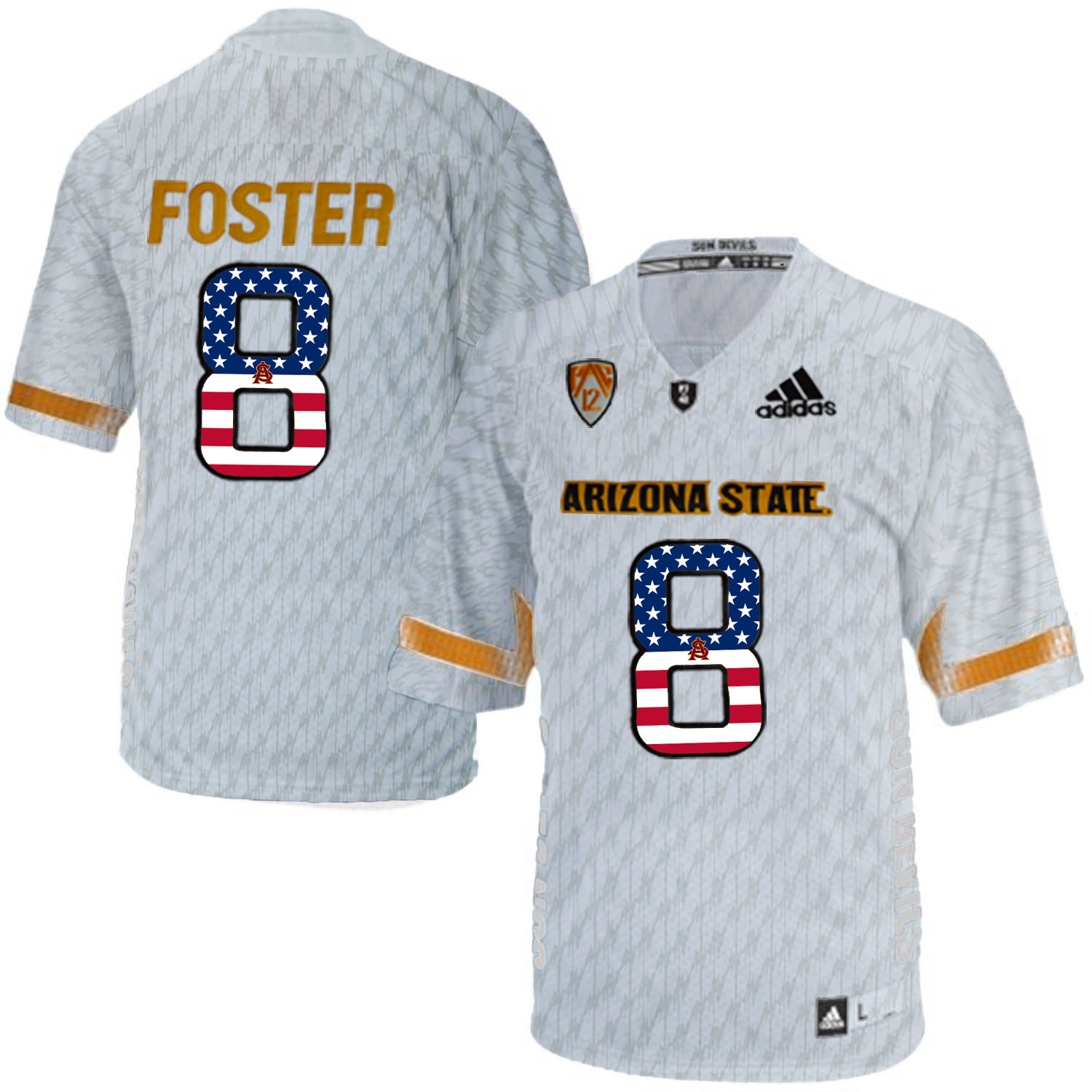 2016 US Flag Fashion Men Arizona State Sun Devils D.J. Foster 8 Desert Ice College Football Jersey White