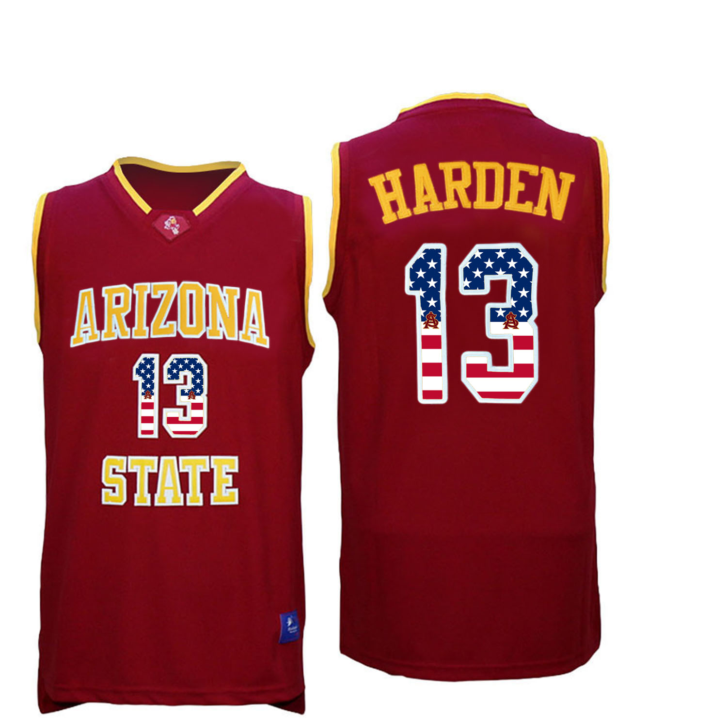 2016 US Flag Fashion Men Arizona State Sun Devils James Harden 13 College Basketball Jersey Maroon