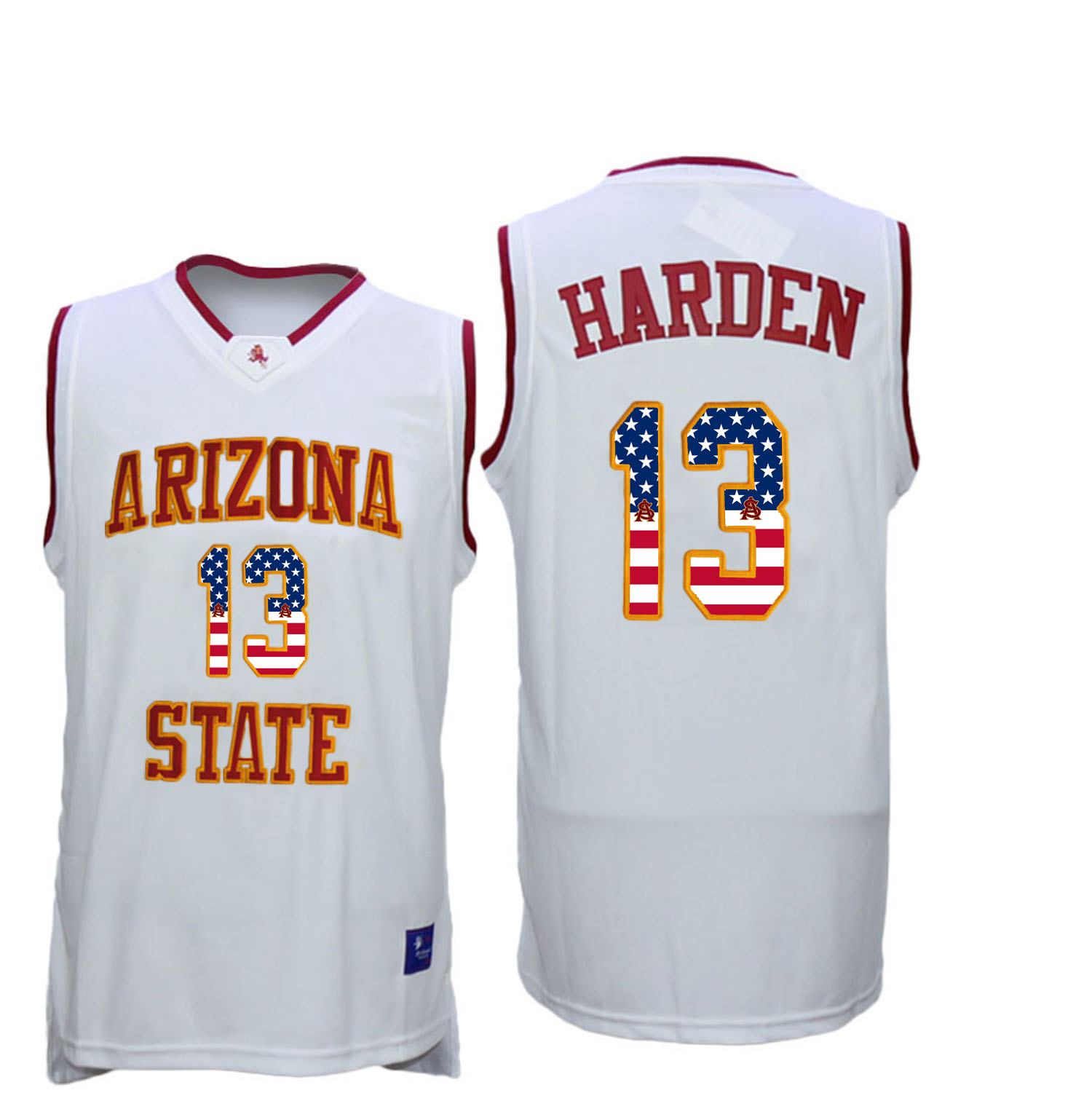 2016 US Flag Fashion Men Arizona State Sun Devils James Harden 13 College Basketball Jersey White