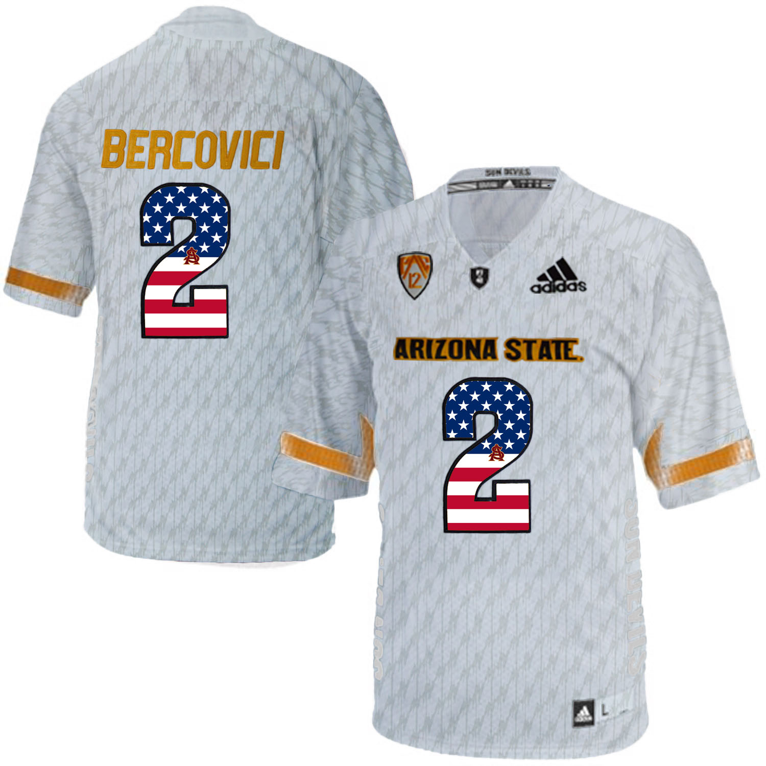 2016 US Flag Fashion Men Arizona State Sun Devils Mike Bercovici 2 Desert Ice College Football Jersey White
