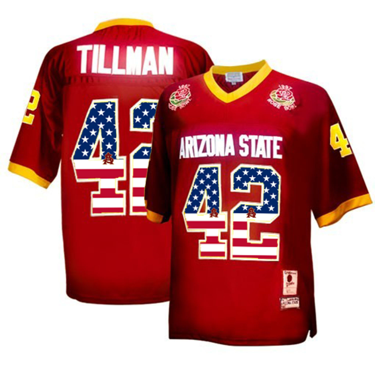 2016 US Flag Fashion Men Arizona State Sun Devils Pat Tillman 42 1997 Rose Bowl College Football Throwback Jersey Maroon