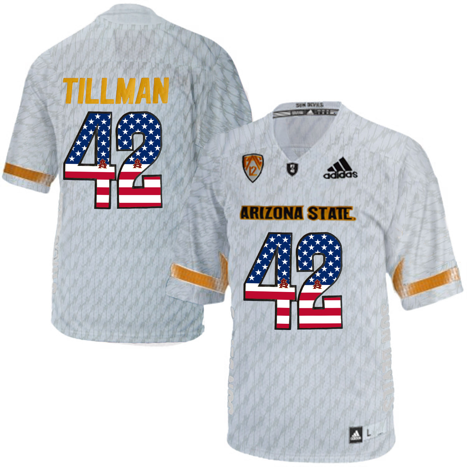 2016 US Flag Fashion Men Arizona State Sun Devils Pat Tillman 42 Desert Ice College Football Jersey White